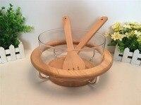 Glass Salad Bowl Set with Bamboo Fork Wooden Botton Fruit Western Food Bowl Dessert Bowl Creative Household Tableware