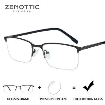 093c4cd92a ZENOTTIC de aleación Semi montura gafas de sol hombres Anti-Blue-Ray ojo  miopía