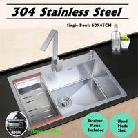 Stainless Steel Single Bowl Kitchen Sinks Commercial Home Top Mounted 60x45cm With Sewer Device Pipe Drainer Kit Accessories