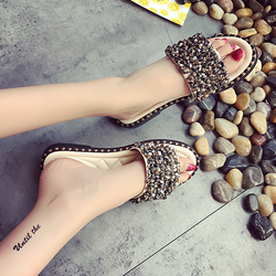 2019 Summer Shoes Woman Flat Sandals Fashion Rivet Crystal  Female Slides Ladies Comfortable Shoes size 35--40 Zapatos Mujer 5