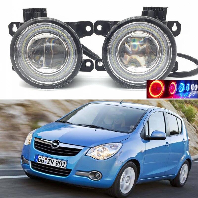 Для VAUXHALL Опель Агила Б 2008-2014 2 в 1 LED 3 цвета Ангел глаз DRL дневные ходовые огни вырезать объектив Противотуманные фары лампы