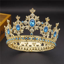 Beauty Luxury Baroque Vintage Light Gold Round Diadem Bride Crown Bridal Tiaras Royal King Queen Wedding Jewelry Hair Ornaments