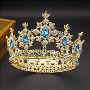 Image 1 - 아름다움 럭셔리 바로크 빈티지 라이트 골드 라운드 diadem 신부 크라운 신부 tiaras 로얄 킹 퀸 웨딩 쥬얼리 헤어 장식품