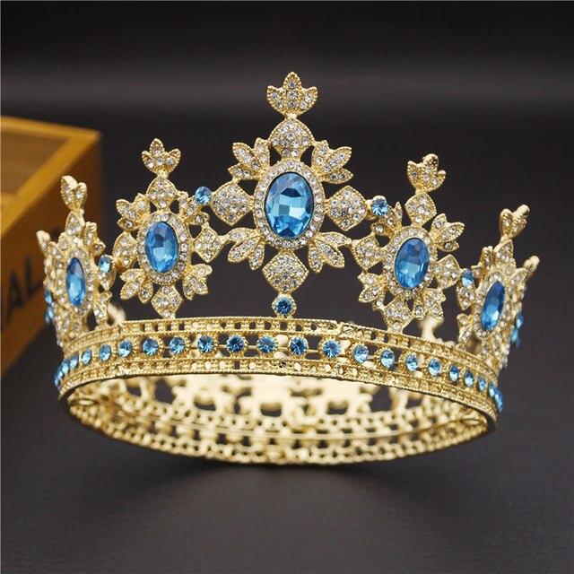 아름다움 럭셔리 바로크 빈티지 라이트 골드 라운드 diadem 신부 크라운 신부 tiaras 로얄 킹 퀸 웨딩 쥬얼리 헤어 장식품