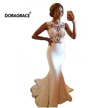 Doragrace Real Photo robe de soiree Applique Sleeveless Mermaid Evening Dresses Long Prom Gowns