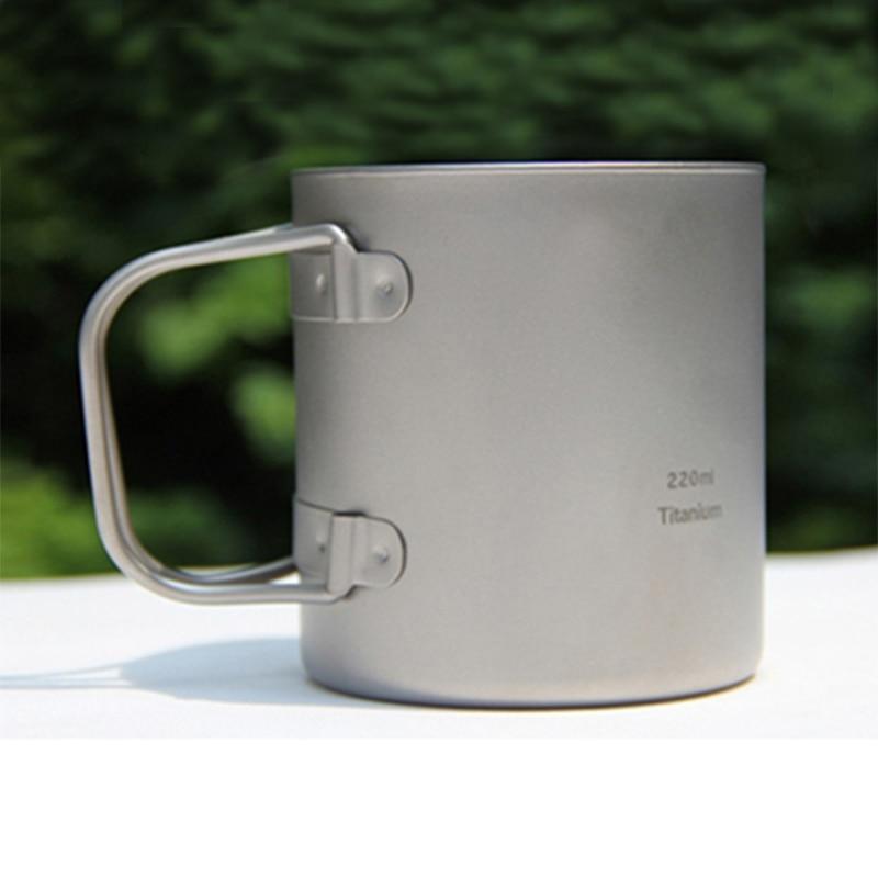 ФОТО Keith 220ml Mug Folding Handle Double-wall Titanium Mug With Lid Thermo Cup Camping Hiking Drinkware Caneca KS813