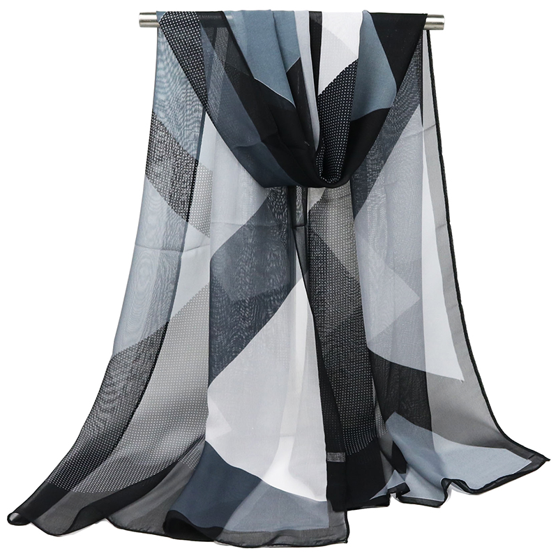 Hot sale Woman Silk   Scarf   Geometric grid Printing Hijab Women's   Scarves   PATCHWORK Chiffon Silk soft Scarfs Shawl   Scarves     Wraps