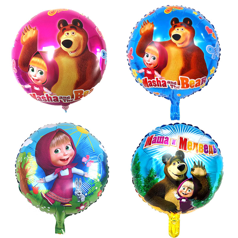 July Forest Lovely Masa bear party air balls Cartoon character martha Foil Balloons birthday Party decorations