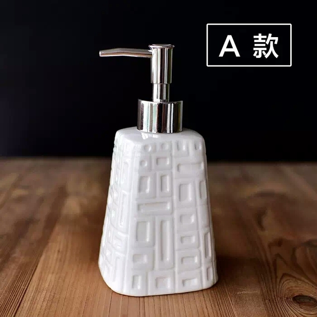 400ml Brief Hotel Bathroom Liquid Soap Dispenser White Ceramic Shampoo Bottle 1610502314