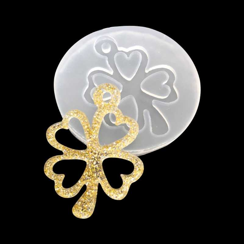 Silicone Mold DIY Jewelry Making UV Resin Jewelry Liquid Silicone Mold Clover Bell Tree Frame DIY Jewelry Pendant