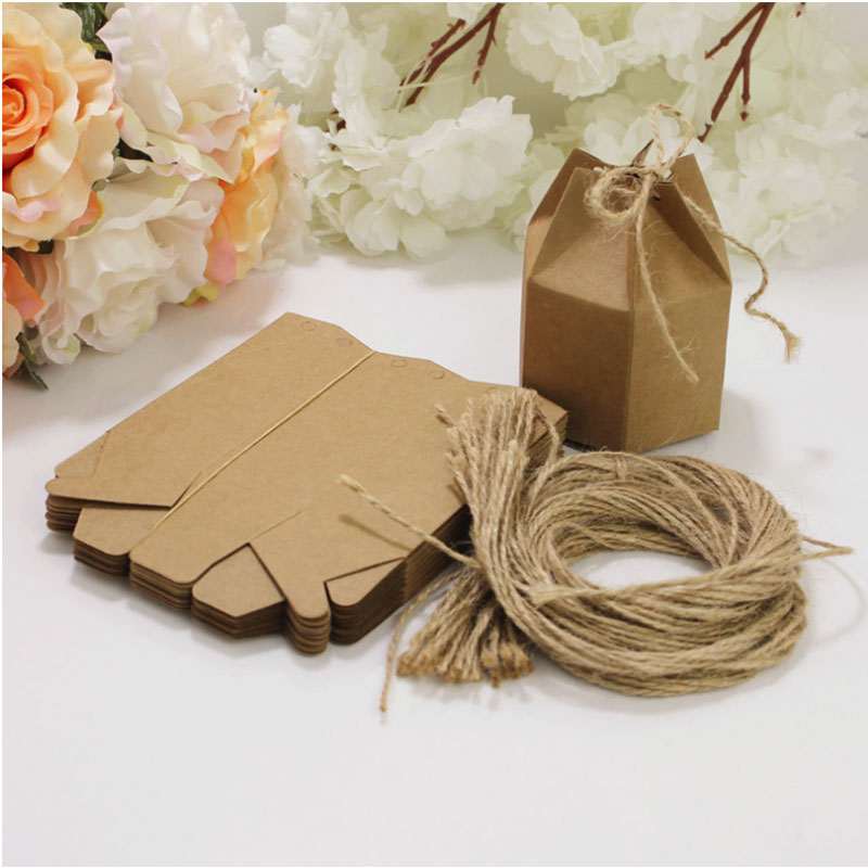 50pcs Candy Dragee Box Kraft Gift Bag Wedding Favor Gift Boxes Pie Party Box Bag Eco Friendly Kraft Gift Bags Wrapping Supply