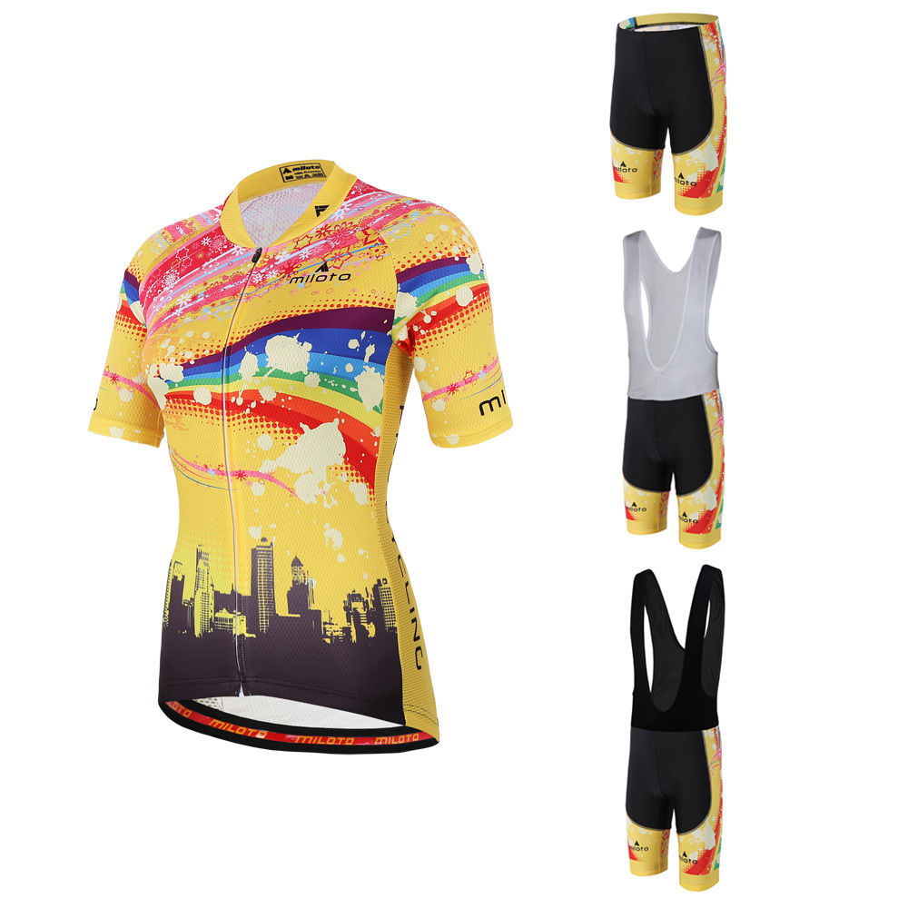 MILOTO Womens Cycle Clothing Ladies Padded Cycling (Bib) Shorts & Bike Jersey Set S-5XL Yellow And Pink MTB Maillot Short