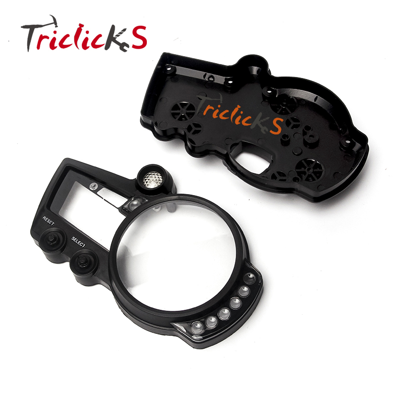Triclicks Black Motorcycle Parts ABS Speedo Meter Gauge Tachometer Case Cover Motor Instrument For Yamaha YZF R1 2002-2009 New