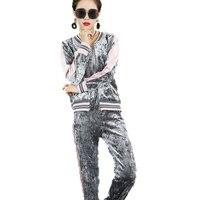AmberHeard 2017 Autumn Winter Sportswear Women Set Sweatshirt Pant 2 Piece Set Velvet Sporting Suit Clothes
