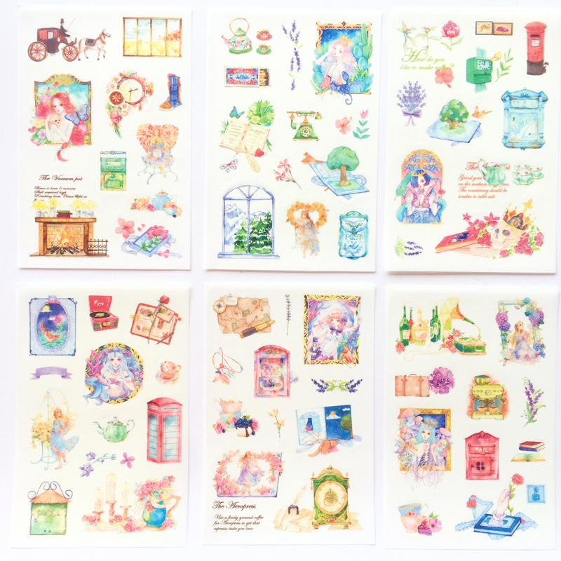 6 Sheets /Pack Washi Paper Classical Princess Fairy Girl Adhesive Stickers Decorative Album Diary Stick Label Hand Account