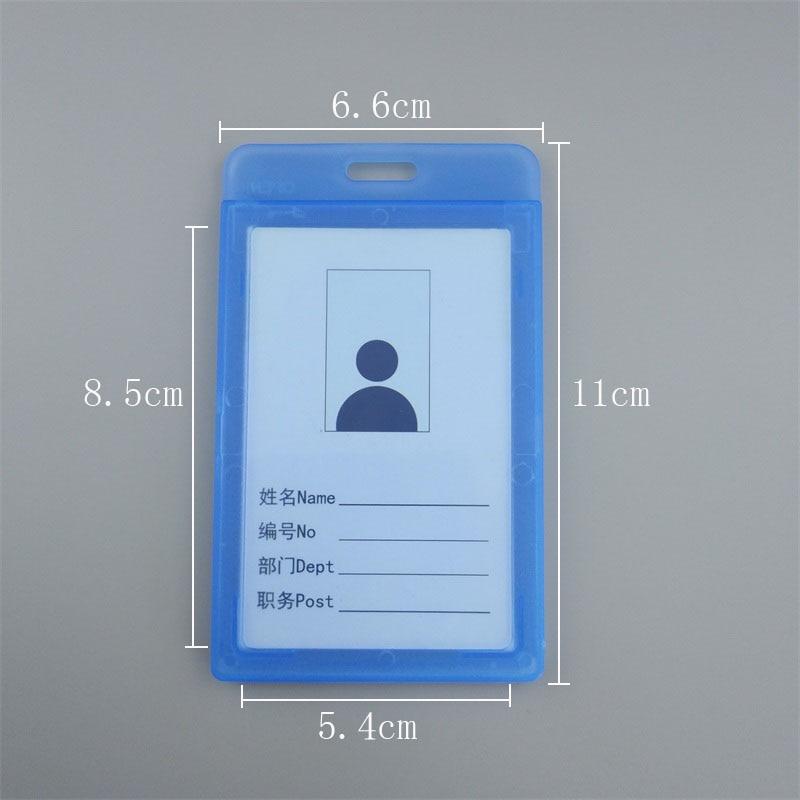 Купить с кэшбэком BINXUE Employee's card Transparent double view Hard Cover card Holders badge and lanyard hang tag Easy to buckle vertical