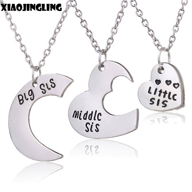 XIAOJINGLING Family Gifts Big Sis/Middle Sis/Little Sis Moon Heart Charm Pendant Necklace for Women Best Friend Birthday Party