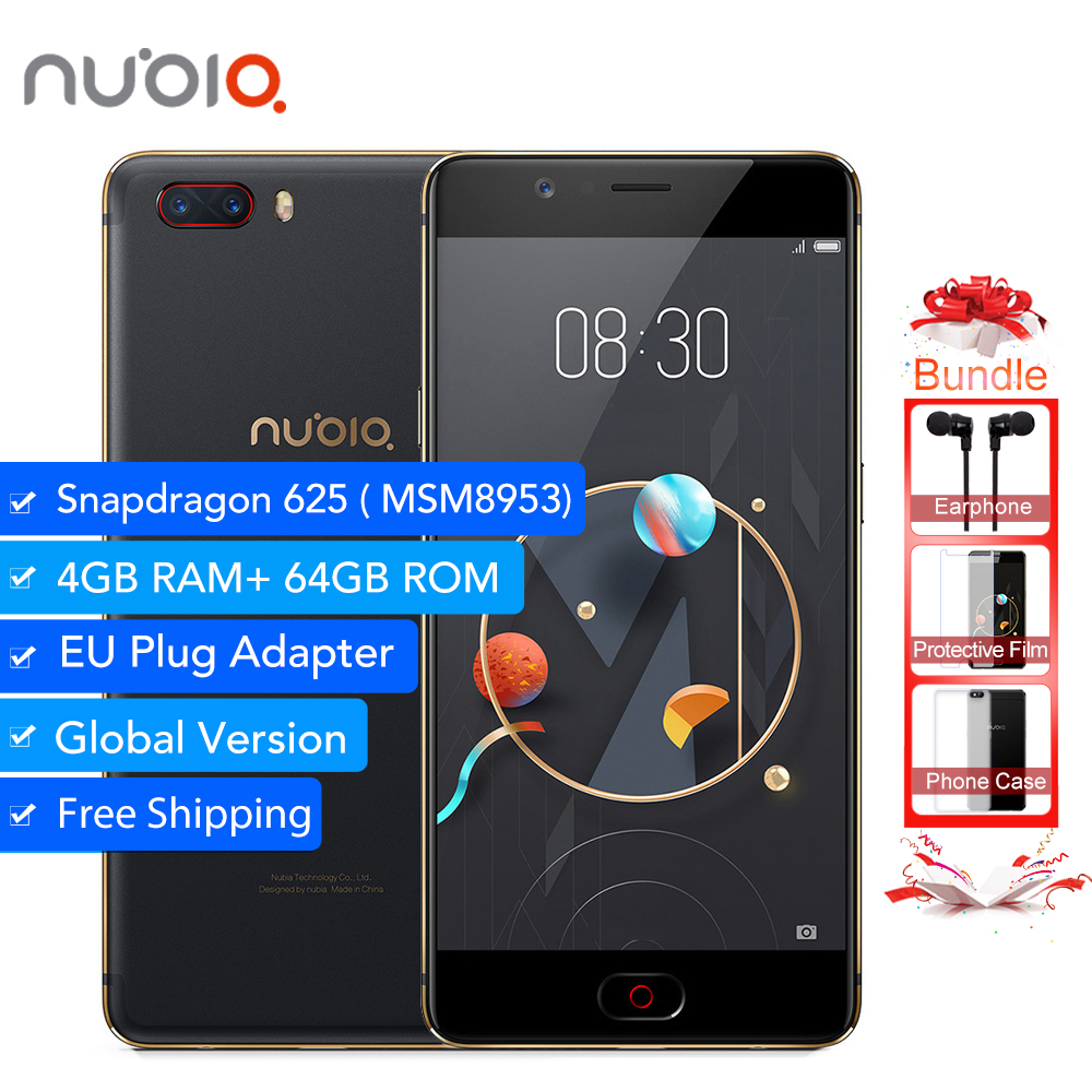 Mondial Version Nubia M2 4 gb RAM 64 gb ROM Snapdragon 625 Octa Core 2.0 ghz 5.5 ''16MP Double 13MP 4g D'empreintes Digitales SmartPhone