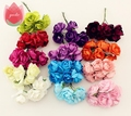 12 pcs 2.5cm Paper Rose Handmade Artificial Flower  For Wedding Decoration DIY Wreath Gift Box Scrapbooking Craft Fake Flower