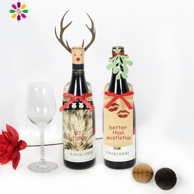 Pack Of 2 Christmas Wine Bottle Decor Set With Mistletoe Leaves And