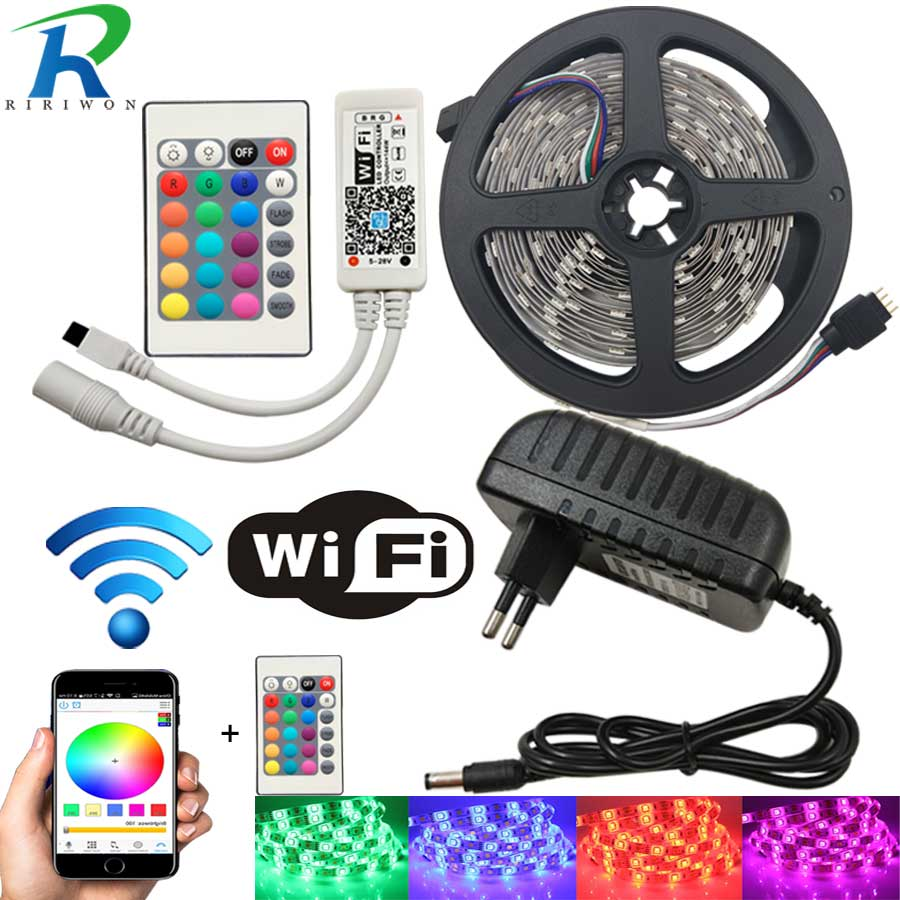 10M WiFi LED Strip Light RGB Tape Diode Neon Ribbon tira fita 12V SMD5050 5M Flexible Light String With WiFI Controller adapter