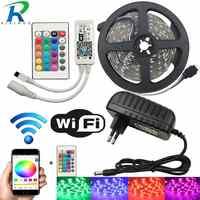 Tira de luces LED WiFi de 10M cinta de diodo RGB cinta de neón tira fita 12V SMD5050 5M luz Flexible cadena con adaptador de controlador WiFI