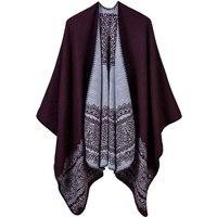 Western Imitation Cashmere Lace Pattern Office Women Pashmina Trip Ponchos Sand Beach Lady Scarf Shawl Gift Dress Sweater