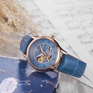 Image 2 - OUYAWEI montre bracelet en cuir pour femmes, mécanique automatique, avec cadran diamant, montre pour femme