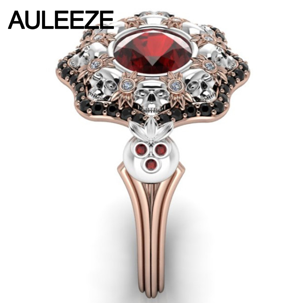 Halloween Solid 10k Two Tone Gold Engagement Ring Unique Skull Natural Red  Garnet Ring Simulated Diamond