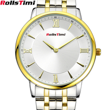 ROLLSTIMI Luxury Mens AR Watches Gold Color Quartz-watch relogio masculino dourado wrist watches for men relojes hombre marca