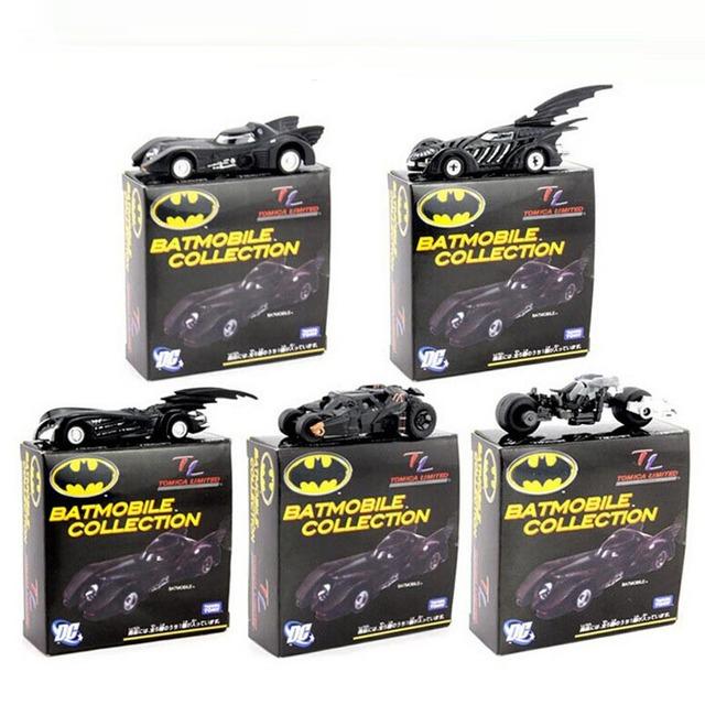 """Batmóvel de Metal do Batman Carro com Duas Rodas Liga de modelos de carro colecionáveis Modelos de Brinquedos com 7cm/2.8"""" 5 unidades/conjunto em Caixa de Presentes com Frete Grátis"""