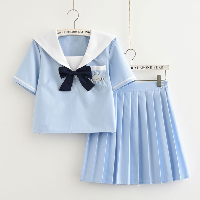 Sky Blue Kawaii Uniform Japanese JK School Uniform Girls Sailor Top+Pleated Skirt Full Set High School Women Suits S-XXL