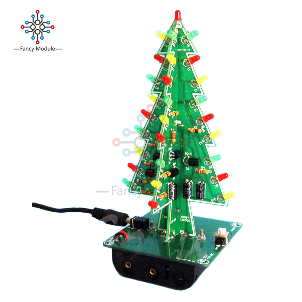 three dimensional 3d christmas tree led diy kit red green yellow led1 x christmas trees led diy kit professional red green flash led circuit 030111 c 030111 2 030111 a 030111 w
