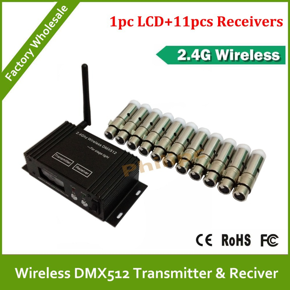 Wireless DMX transmitter signal receiver for 2.4G wireless DMX512 controller LEDPar light Shaking his head lamp 12pcs dmx512 digital display 24ch dmx address controller dc5v 24v each ch max 3a 8 groups rgb controller