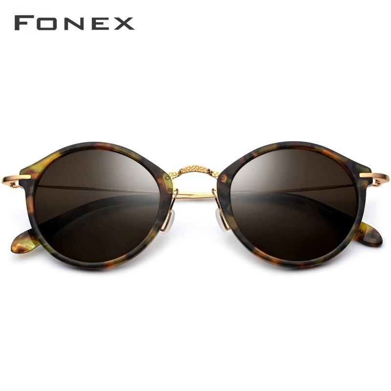 FONEX élastique B titane lunettes de soleil polarisées femmes marque Designer 2019 Vintage rond lunettes de soleil pour hommes rétro acétate lunettes de soleil - 2