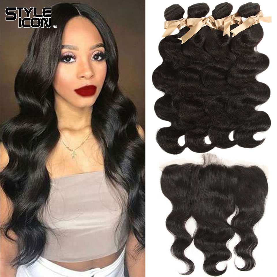 Styleicon Brazilian Body Wave With Closure Natural Color Body Wave Bundles With Frontal 13X4 Human Hair Bundles With Frontal