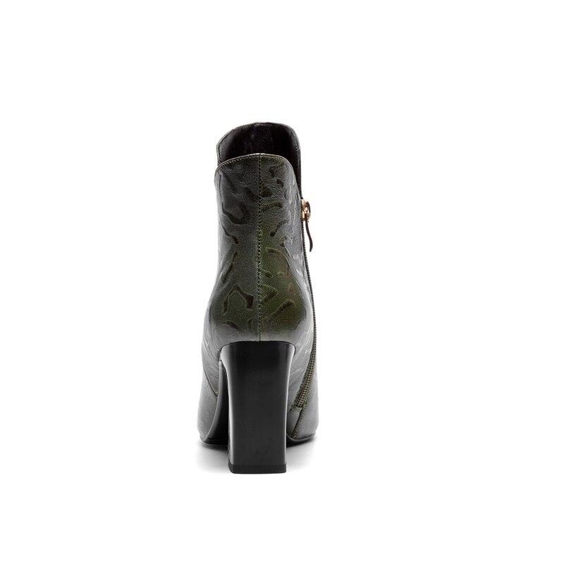 Bureau Spéciale Véritable Chaussons Carré Talon Pointu Zip 2018 Zvq Hiver En Green Nouvelle Offre Qualité Chaud Cuir Haute Super Femmes Black Chaussures army Bout RwHpOYtpqx