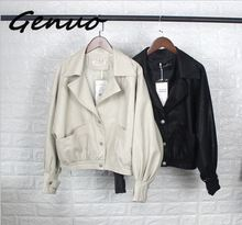 Genuo fashion 2019 New Fashion Street Faux Leather Jacket Women Casual Loose Batwing Sleeve Washed Pu Coat Biker Jackets