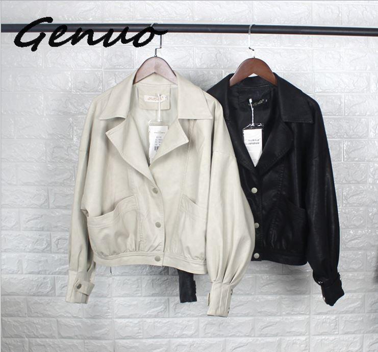 Genuo fashion 2019 New Fashion Street Faux   Leather   Jacket Women Casual Loose Batwing Sleeve Washed Pu   Leather   Coat Biker Jackets