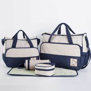 Image 3 - 5 pcs/set Baby Care Diaper Bag Mummy Stroller Handbag Set Maternity Nursery Organizer Hobos Nappy Changing Mat Bottle Holder