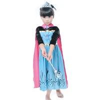 ساخنة جديدة فتاة الأميرة اللباس الاطفال أزياء فساتين آنا فساتين عادية مع الأحمر عباءة الرأس الأطفال ملابس هدية الطفلية meninas