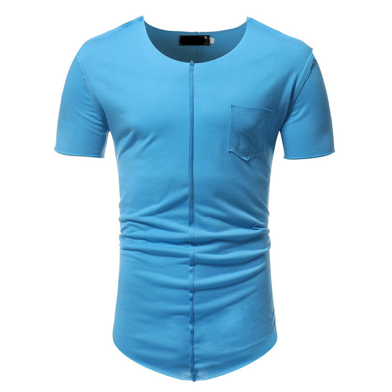 Summer New Mens Clothing T Shirts Fashion Round Neck Men's Pocket Stitching Casual Short Sleeve Tshirt Male Tops