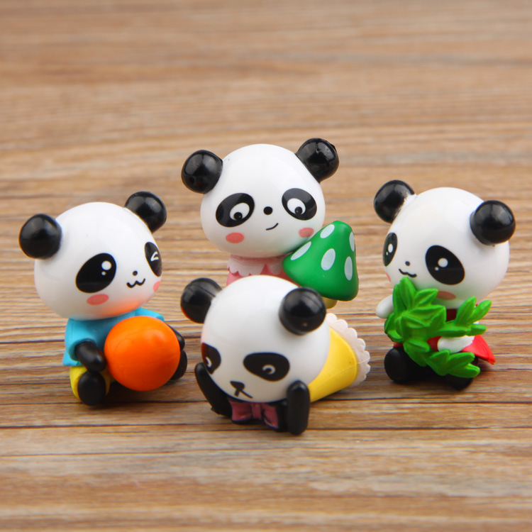 4 Pcs/lot Hot Sale Action Figures Toys Dolls Cute Panda Animals Cartoon Toys Models Desk Toys Christmas Toys For Children Dolls To Adopt Advanced Technology Action & Toy Figures