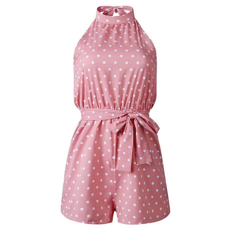 Zomer romper vrouwen dot mouwloze backless korte rompertjes vrouwen jumpsuit pocket print sexy playsuit jumpsuit vrouwelijke 2019 DR281