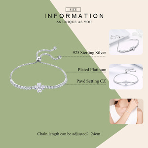 Image 2 - Bamoer Echt 925 Sterling Zilveren Shining Clover Flower Chain Armbanden Voor Vrouwen Clear Cz Mode Zilveren Sieraden BSB007