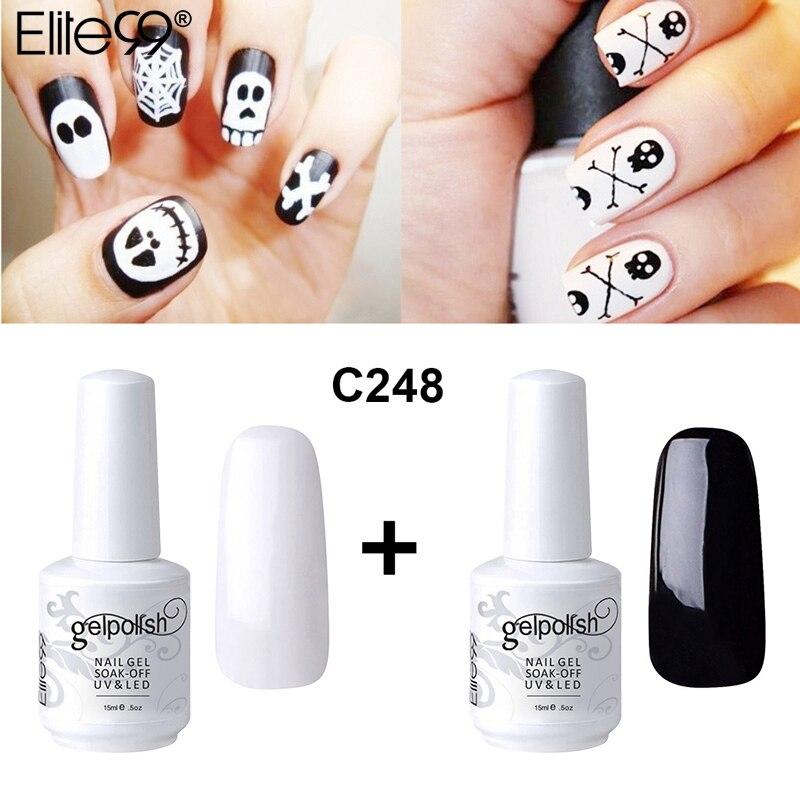 Black Gel Nail Polish: Elite99 Gel Nail Polish 15ml Black White Color Gel UV
