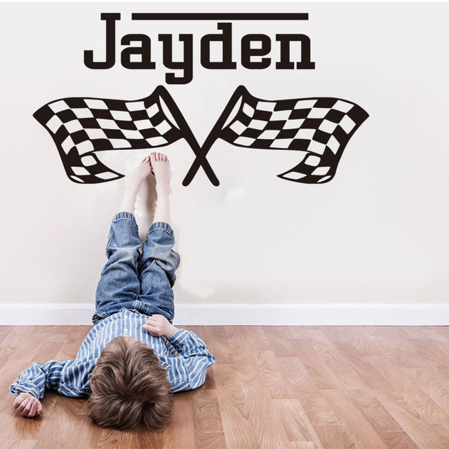 Sport Race Flags Pattern Customized Name Wall Sticker For Kid Living Room Bedroom Personalised Removeable Accessories