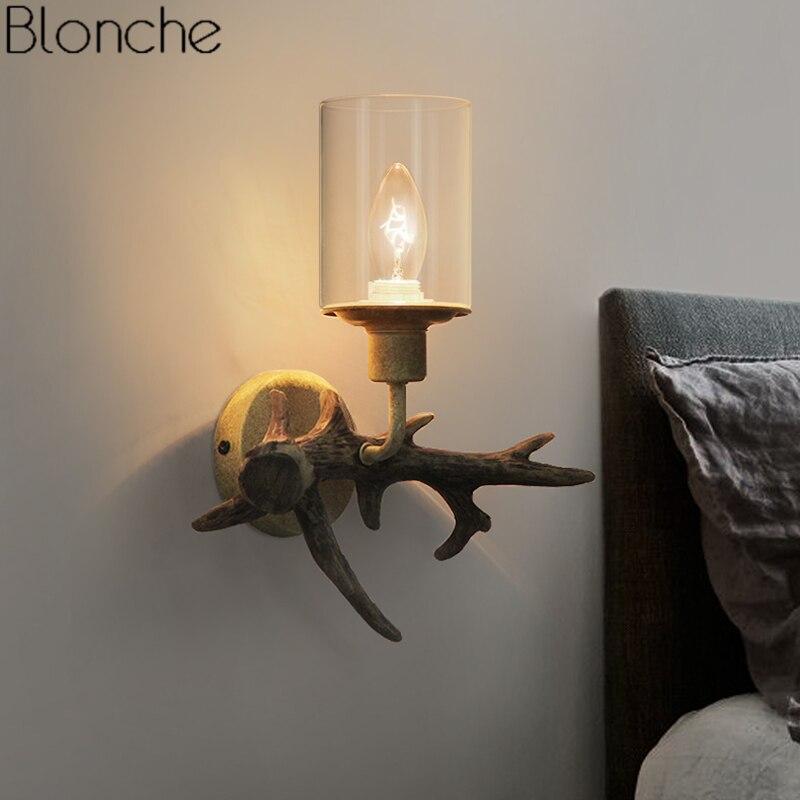 Nordic Antler Wall Lamps Indoor Modern Glass Wall Sconce Light Fixture Bedroom Bathroom Lamp Resin Deer