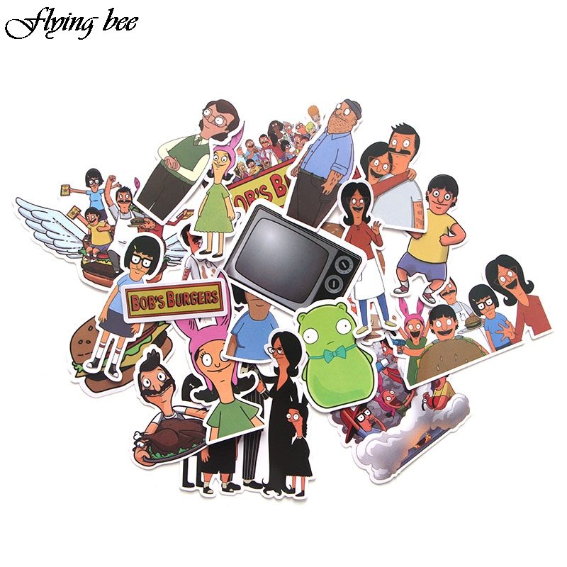 Flyingbee 21 Pcs Bob's Burgers Cartoons Stickers Kids Toy Sticker for DIY Luggage Laptop Wall Car Phone Waterproof Sticker X0043(China)