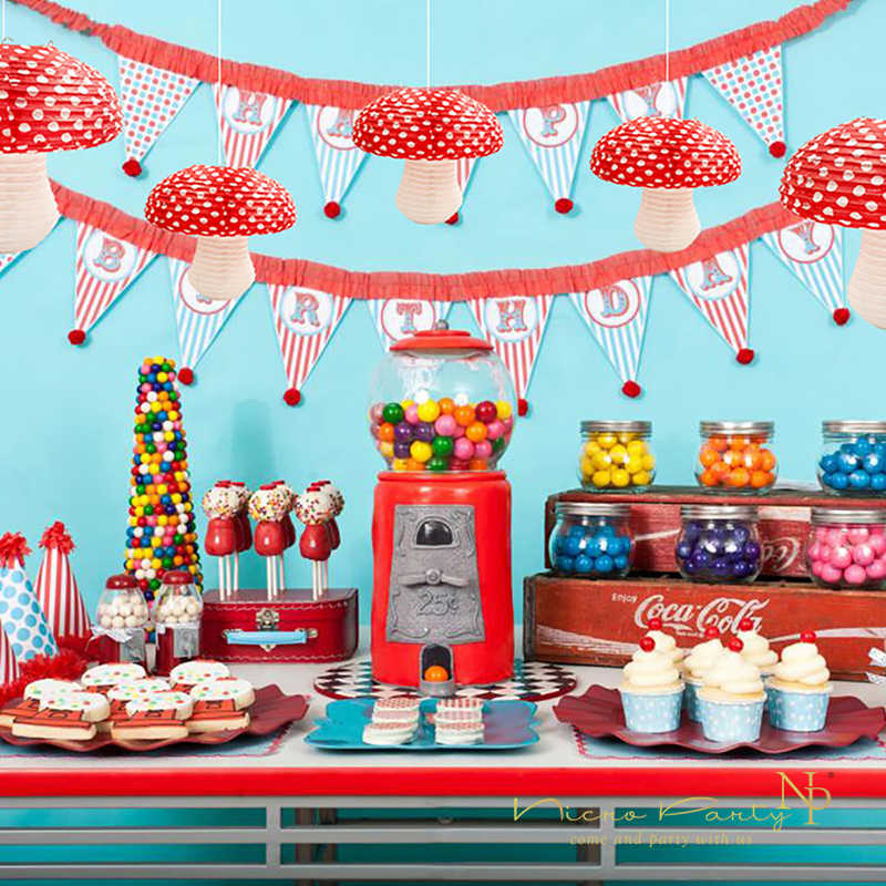 Nicro 3D Paper Mushroom Hanging Lanterns Dots Red And White Girls Boys  Birthday Party Baby Shower 1st Birthday Size:S/M #LS03